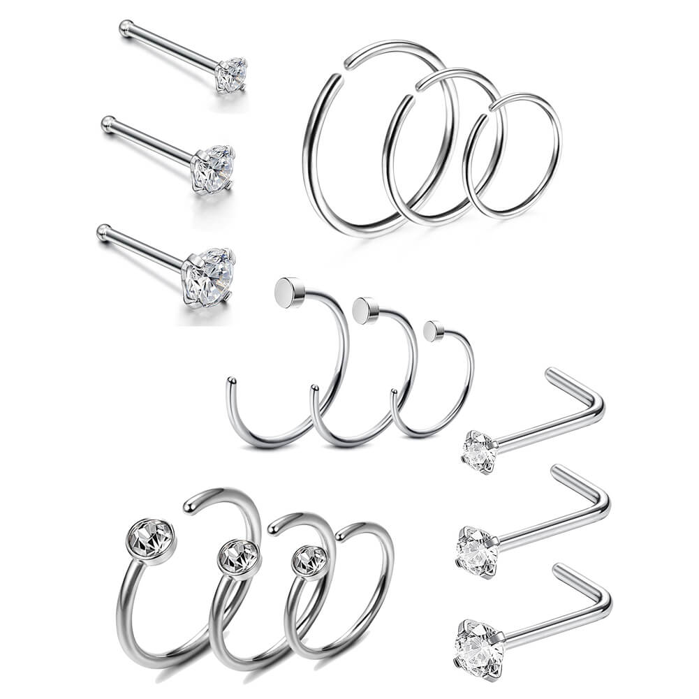 Nose Ring Silver Stainless Steel CZ Nose Studs